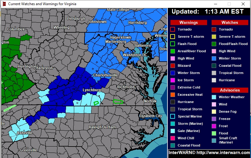Current Virginia State Advisories